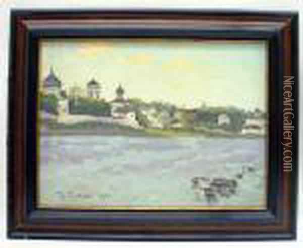 Riverscape With View Of Town Oil Painting - Konstantin Ivanovich Gorbatov