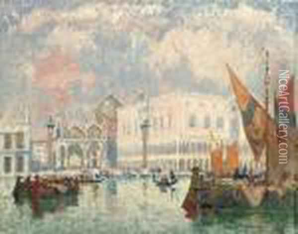 View Of Basilica San Marco And The Doge's Palace, Venice Oil Painting - Konstantin Ivanovich Gorbatov