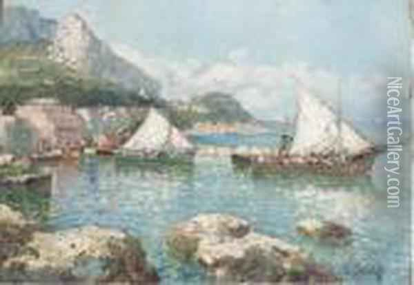 View Of Capri Oil Painting - Konstantin Ivanovich Gorbatov