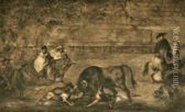 Plate From Tauramachia Series Oil Painting - Francisco De Goya y Lucientes