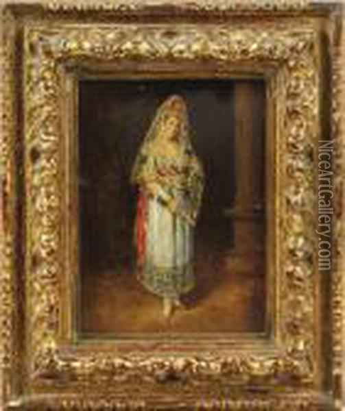 Portrait Of A Lady, Full Length,  Wearing A Silk Mantilla With Apeineta, Holding A Fan, Standing Beside A  Column. Oil Painting - Francisco De Goya y Lucientes