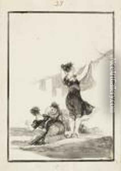 Hutiles Trabajos Oil Painting - Francisco De Goya y Lucientes