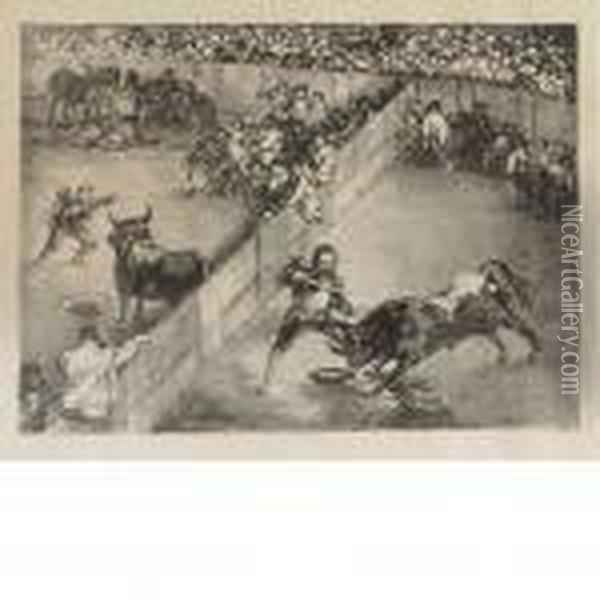 Bullfight In A Divided Ring Oil Painting - Francisco De Goya y Lucientes