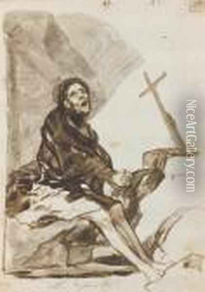 Repentance Oil Painting - Francisco De Goya y Lucientes