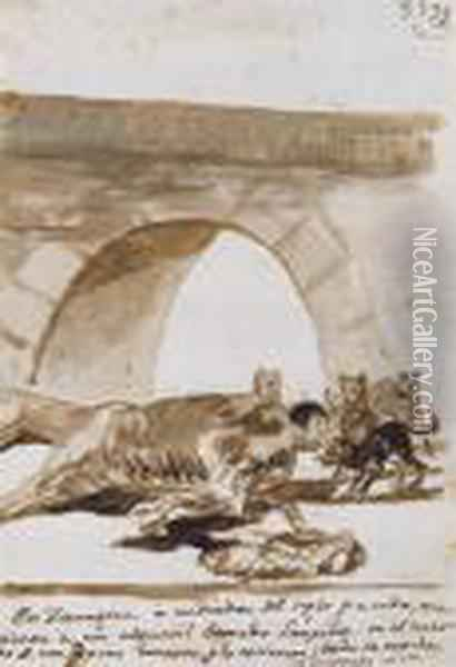 Constable Lampinos Stitched Into A Dead Horse Oil Painting - Francisco De Goya y Lucientes