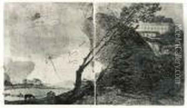 Landscape With Buildings And Trees Oil Painting - Francisco De Goya y Lucientes