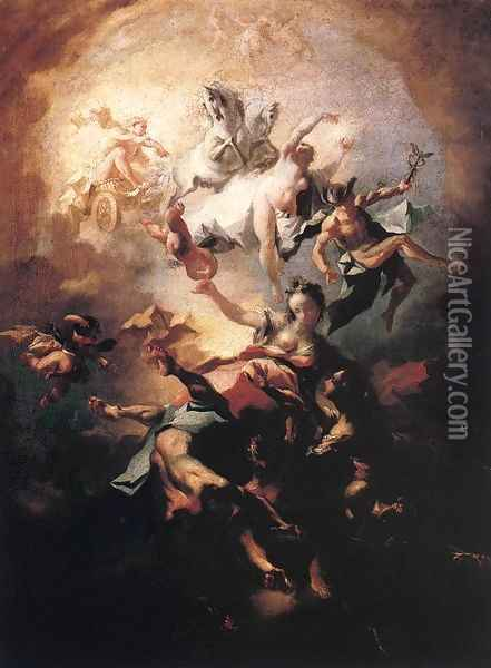 Allegory of the Alba c. 1750 Oil Painting - Franz Anton Maulbertsch