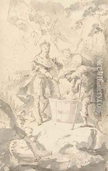 Saint Wendelin, Patron Saint of vineyards and vignerons, attended by angels and putti Oil Painting - Franz Anton Maulbertsch