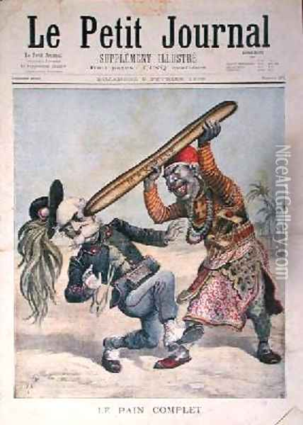 Caricature of Francesco Crispi 1818-1901 and the defeat of the Italian invading army at the siege of Makalle Ethiopia cover of Le Petit Journal 9th February 1896 Oil Painting - Henri Meyer