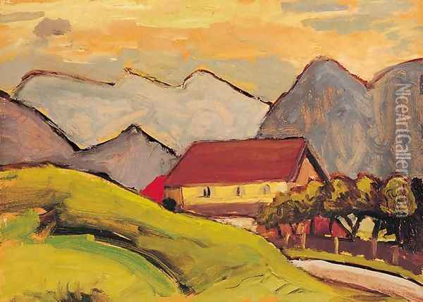 Farmhouse on the Hill Oil Painting - Gabriele Munter