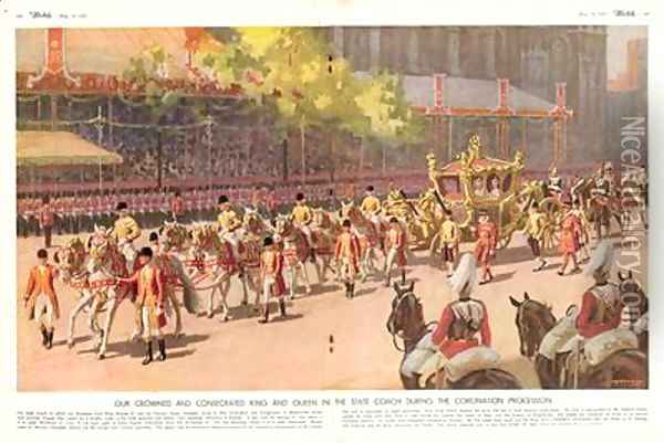 Our Crowned and Consecrated King and Queen in the State Coach During the Coronation Procession on 12th May 1937 from The Sketch 19th May 1937 Oil Painting - A.C. Michael