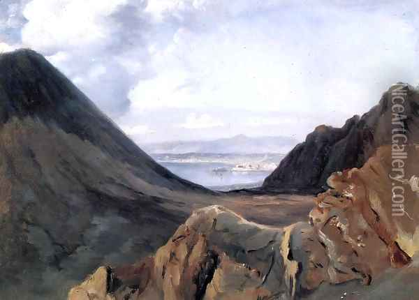 View of Naples from Vesuvius Oil Painting - Achille-Etna Michallon