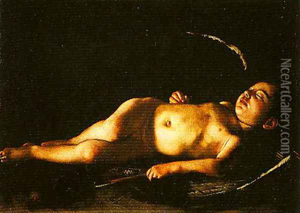 Sleeping Cupid Oil Painting - Michelangelo Merisi Da Caravaggio
