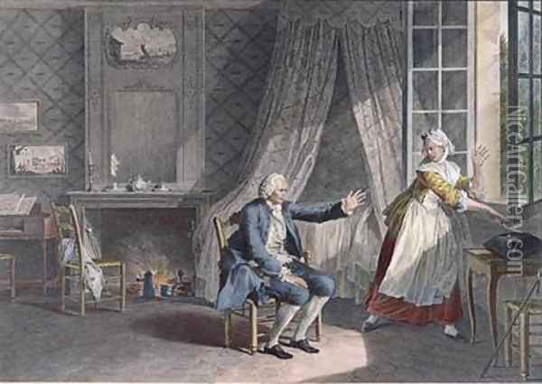 The Last Words of Jean-Jacques Rousseau 1712-78 at Ermenonville in 1778 Oil Painting - Jean-Michel Moreau