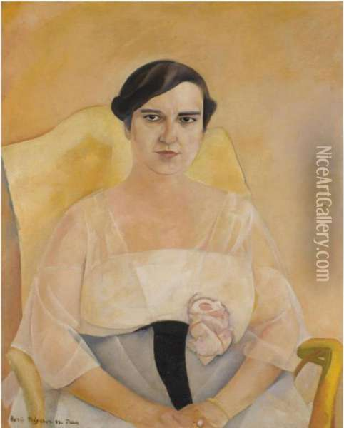 Portrait Of A Lady Oil Painting - Boris Dimitrevich Grigoriev
