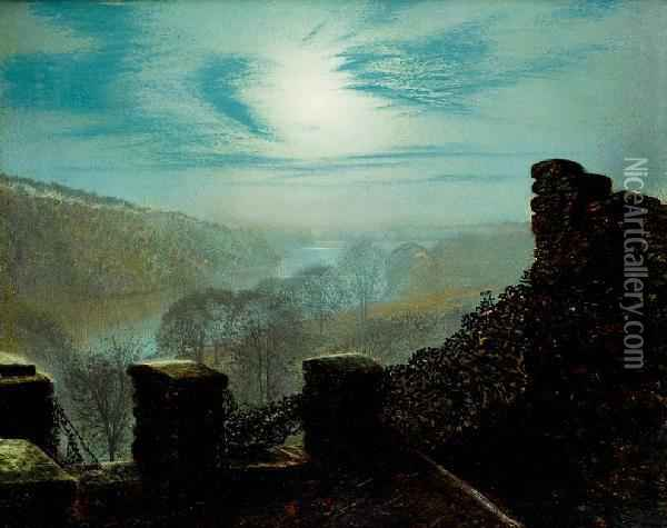 Full Moon, Roundhay Park Castle Oil Painting - John Atkinson Grimshaw