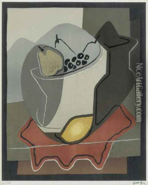 Nature Morte Aux Fruits Oil Painting - Juan Gris