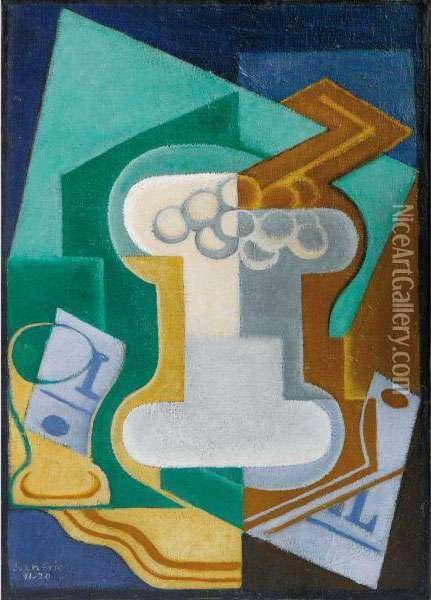 Verre Et Fruits Oil Painting - Juan Gris