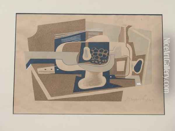 Nature Morte A La Guitare Pochoir Oil Painting - Juan Gris