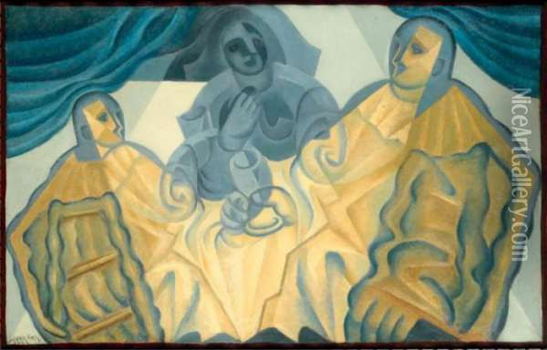 Property Of A Private Collector              Les Trois Masques Oil Painting - Juan Gris