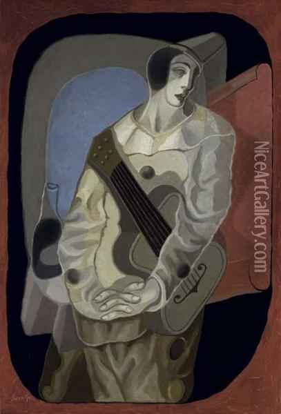 Le Pierrot A La Guitare Oil Painting - Juan Gris