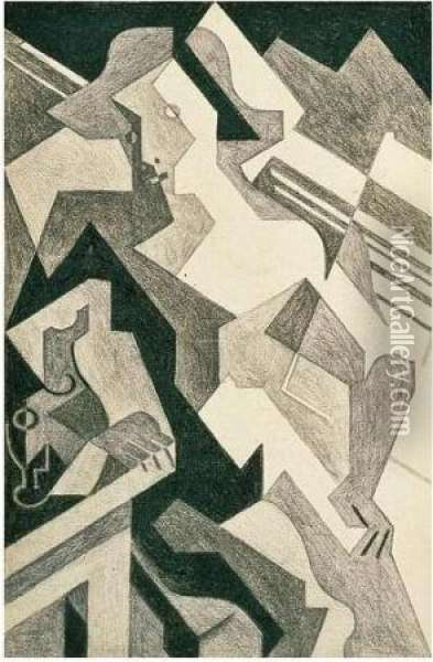 Arlequin Attable Oil Painting - Juan Gris