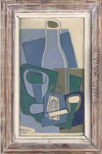 Pipe Et Paquet De Tabac (1922) Oil Painting - Juan Gris