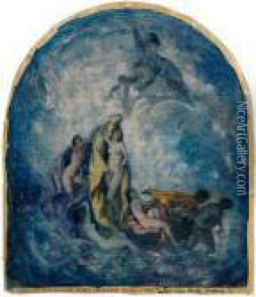 Nymphs Within Clouds Oil Painting - Bela Ivanyi Grunwald