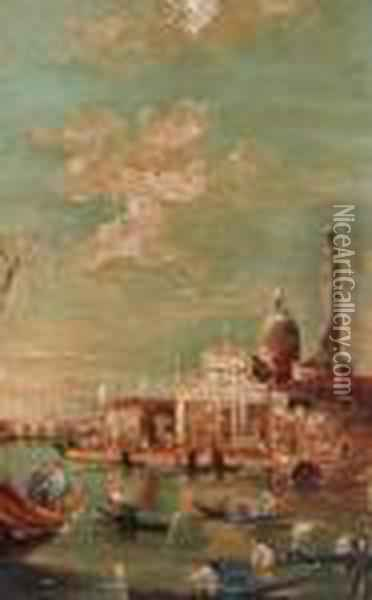 Depicting Gondolas In The Venice Canal Oil Painting - Francesco Guardi