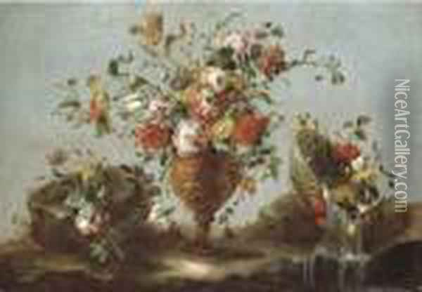Roses, Peonies And Tulips In A  Gold Sculpted Urn With Flowers In A Pewter Bowl By A Rock Pool Oil Painting - Francesco Guardi