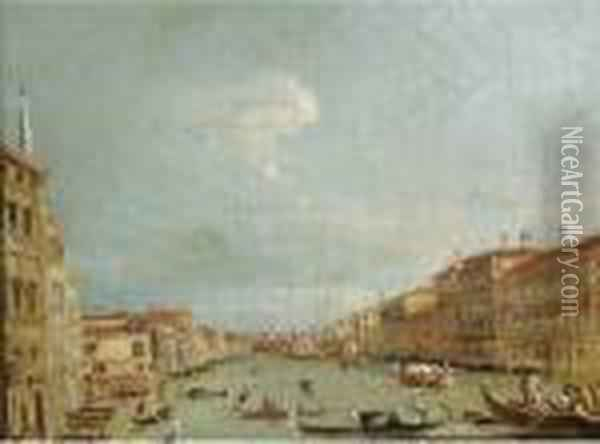 Gondolas On The Grand Canal, Venice Oil Painting - Francesco Guardi
