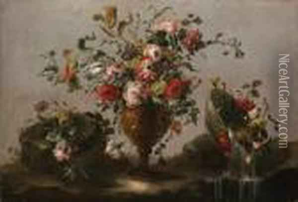 Parrot Tulips, Roses And Other  Flowers In An Urn, Flowers In A Bowlwith Water Spilling Out And A Bunch  Of Flowers On A Rockybank Oil Painting - Francesco Guardi