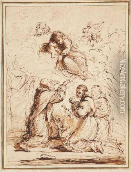 The Vision Of Saint Simon Stock Oil Painting - Guercino