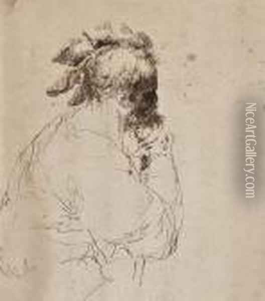 Head Of A Bearded Man In Profile Oil Painting - Guercino