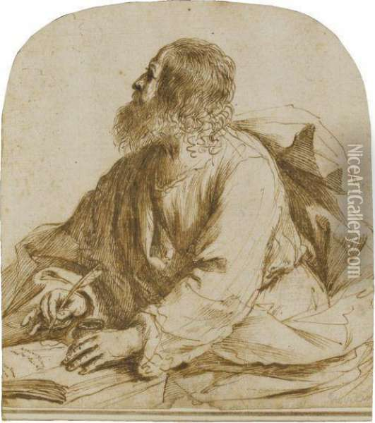 An Evangelist Writing, Seated At A Table Oil Painting - Guercino