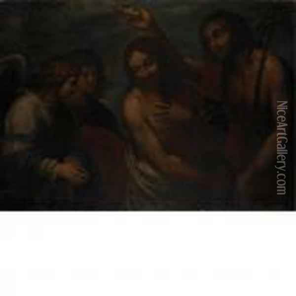 The Baptism Of Christ Oil Painting - Guercino
