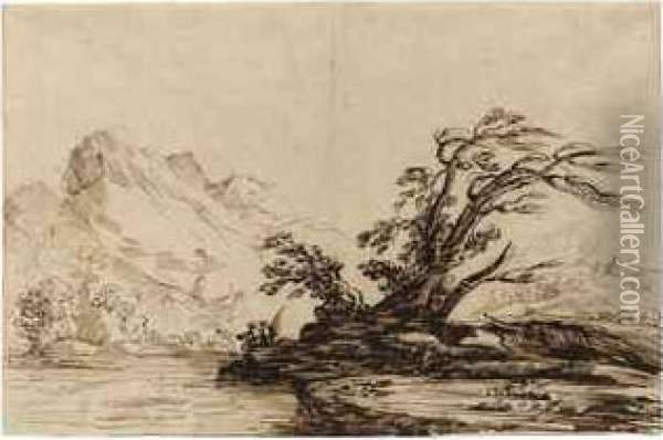 A River Landscape With A Fisherman Oil Painting - Guercino