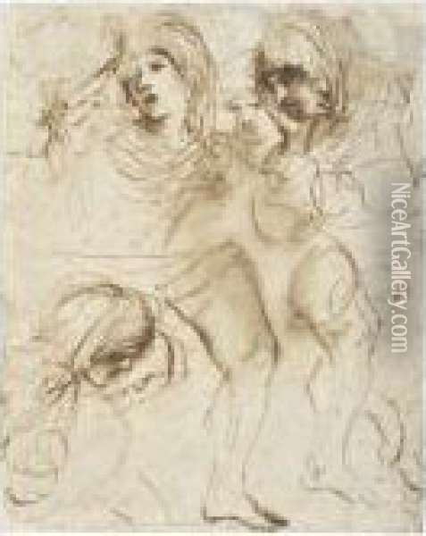 Sheet Of Studies Of The Heads Of Girls And Of Legs Oil Painting - Guercino