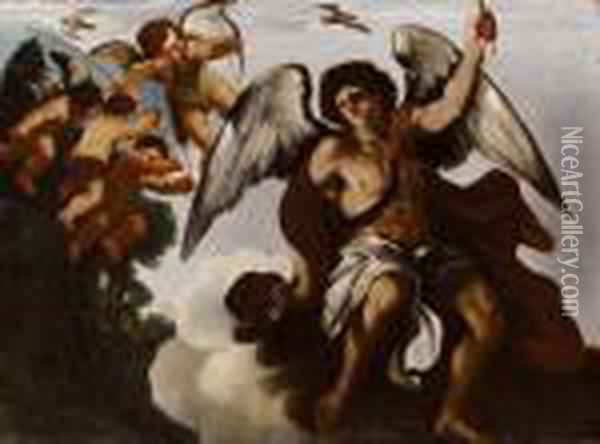 Gruppo Di Angeli Oil Painting - Guercino
