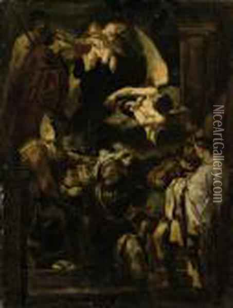 Saint William Of Aquitaine Receiving The Cowl From Saint Benedict Oil Painting - Guercino