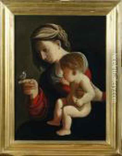 Madonna Col Bambino Oil Painting - Guercino