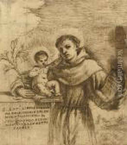 Saint Anthony Of Padua With The Christ Child Oil Painting - Guercino