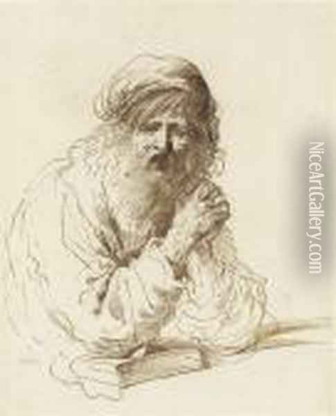 Half-length Study Of A Bearded Man In A Cap, Seated With His Elbow Resting On A Book Oil Painting - Guercino