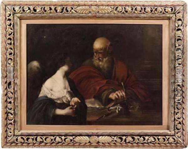 San Matteo Ispirato Dall'angelo Oil Painting - Guercino