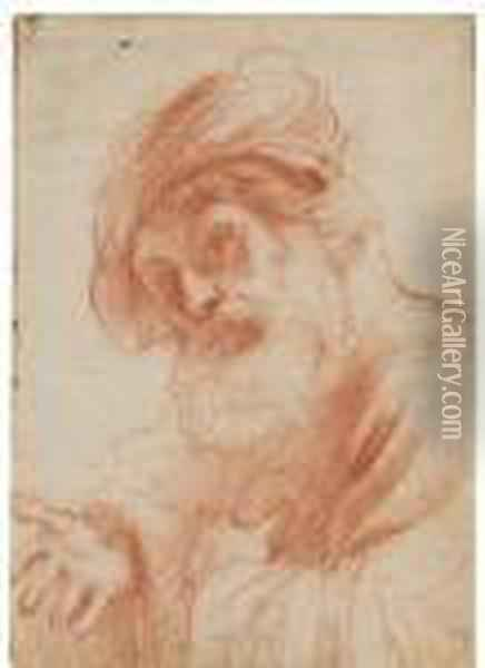 Head Of An Old Bearded Man (recto); Study Of Legs (verso) Oil Painting - Guercino
