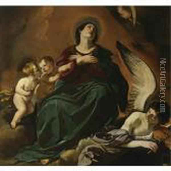 The Assumption Of The Virgin Oil Painting - Guercino