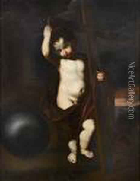 The Infant Christ Holding The Instruments Of The Passion Oil Painting - Guercino
