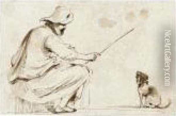 A Seated Man Wearing A Hat And Holding A Cane To Train A Dog Oil Painting - Guercino