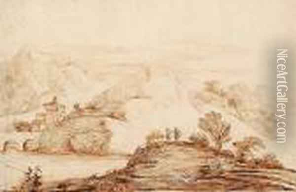 A Rocky River Landscape With  Anglers In The Foreground; And An Italianate Landscape With Elegant  Figures On The Banks Of A River. Oil Painting - Guercino