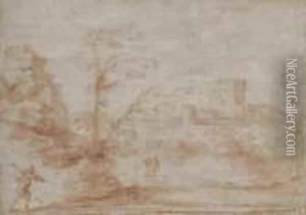 Landscape With A Distant Castle Oil Painting - Guercino